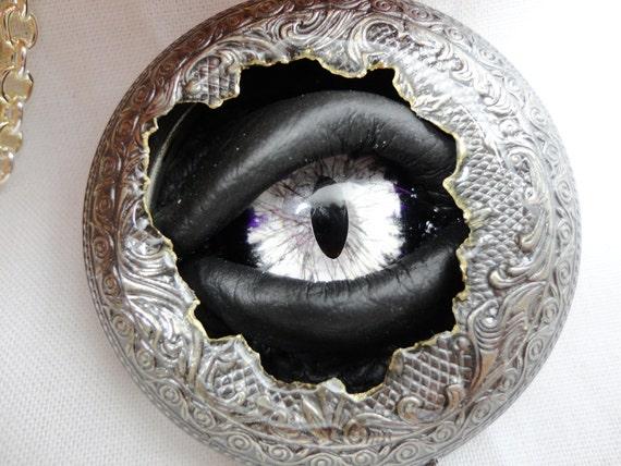 Steampunk Necklace Pocket Watch Case Sightmares Eye - Unobtainium Eye by Dr Brassy Steamington