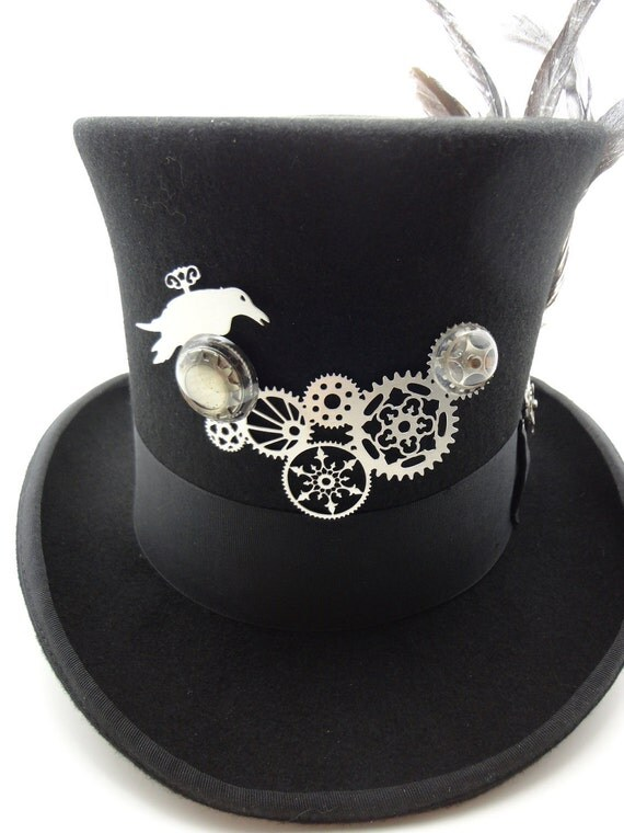 Steampunk Hat- Black Top Hat in Wool Felt Size X-Large with Large Silver Geared Raven Focal and Feathers by Dr Brassy Steampunk