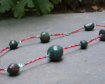 Ocean Sunset Hand-Painted Paper Mache Beaded Necklace