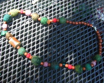 Day in the Woods Hand-Made Felt and Wood Beaded Necklace