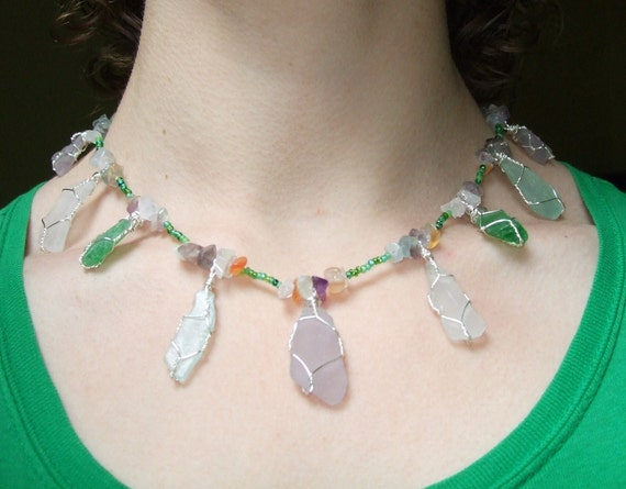 Spring Flowers Sterling Silver Wire-Wrapped Sea Glass Pendant Necklace
