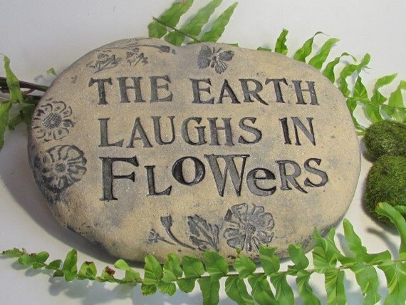 Garden marker - Large Rustic garden sign - Terracotta Stepping stone - Inspirational quote on OUTDOOR PLAQUE