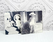 "Vintage Black and White Art, ART Panels 16""x16"", Set of w - Little Girl and Little Boy"