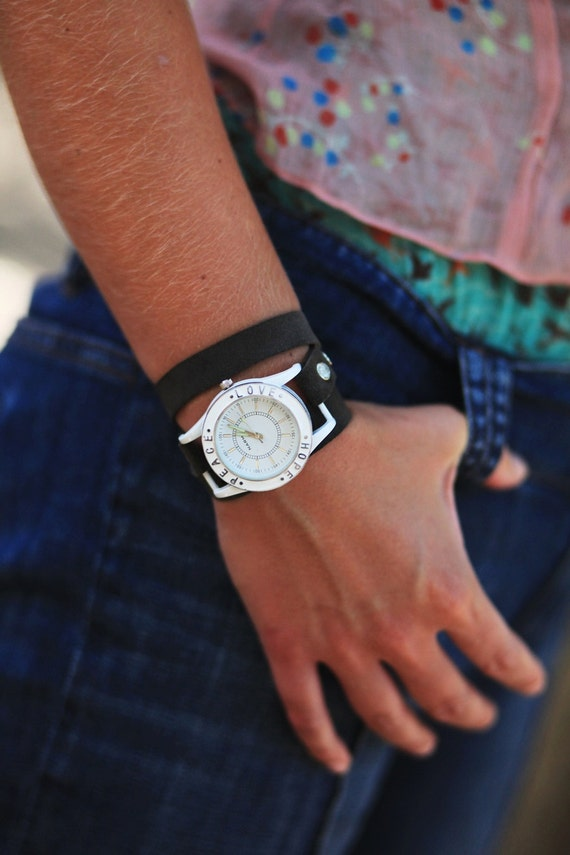White Faced Recycled Leather Wrap Watch