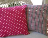 set of two polka dot pillow covers hot pink and white ...