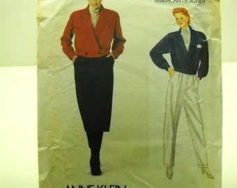 vintage vogue pattern 1055  ann klein  jacket ,skirt and pants size 12