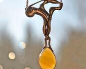 Nouveau Moon drop Opal Necklace
