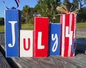 July 4th Mini Word Blocks