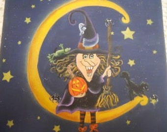 Halloween Witch On The Moon Plaque