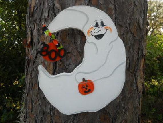 Halloween Crescent Moon Ghost
