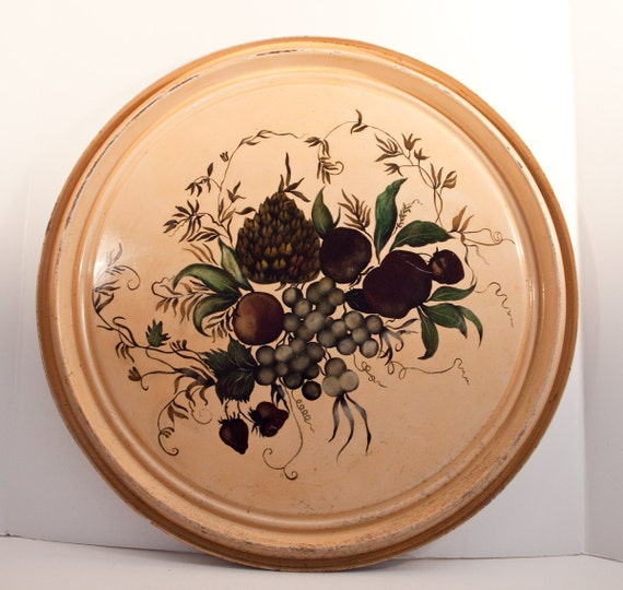 Antique Toleware Tray, Hand Painted Cream Floral Design Large size