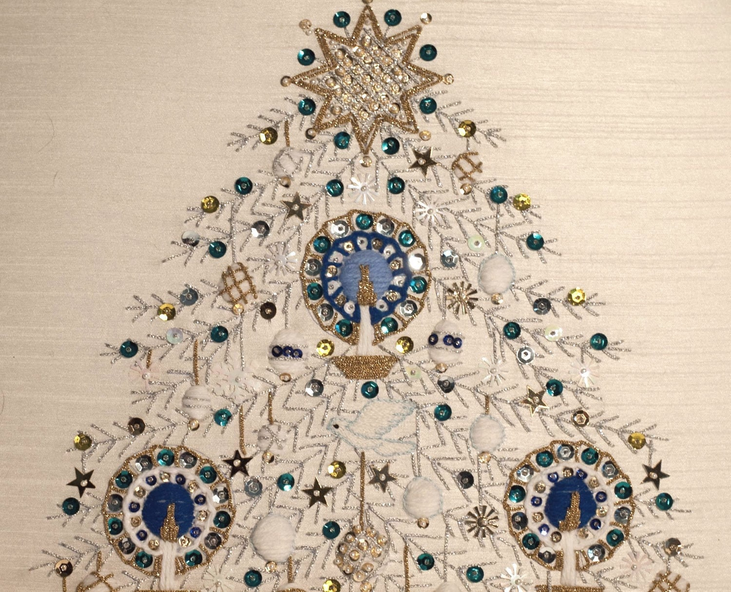 Blue Silver And Gold Christmas Tree All Hand Beaded By