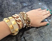 Freedom, Chunky Champagne Gold Chain Link Leather Wrap Bracelet