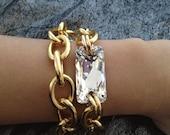 Moonbeam, Mini Chunky Gold Bracelet with Swarovski Crystal AB cut