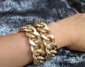Freedom, Chunky Chain Wrap Bracelet, Super Light Gold
