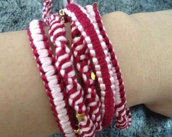 5 Wrap Chan Luu Style Wrap Bracelet, Maroon Red and Pink Two Tone
