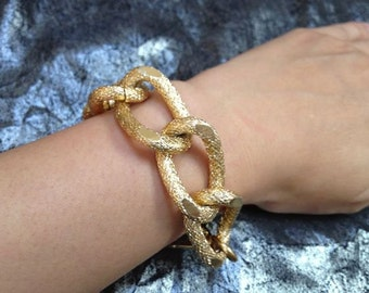 Cabana, Chunky Single Textured Gold Chain Link Bracelet, 18K Gold Plated