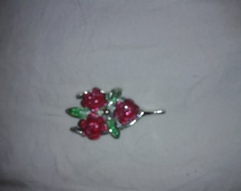 Signed Gerry-Romantic Basket of Roses Pin/Brooch