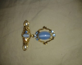 Victorian Water Drop with Crystals & Pearls-Pin/Brooch/Pendant