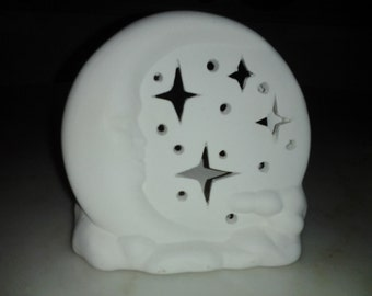 Ceramic Dreamland Candle Holder-Moon Floating on Clouds in Starry Night