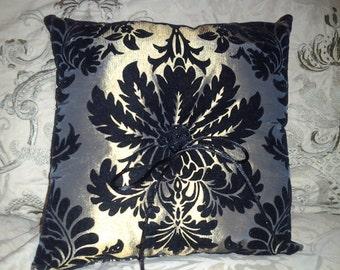 Parisian Chic Velvet Damask Throw Ring Bearer Pillow w/Beaded Center