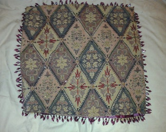Spectacular Beaded Tapestry Renaissance Throw Pillow Sham Cover