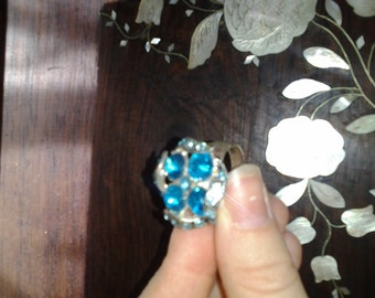 Adjustable Ocean Blue Turquoise Swirl Sparkle Ring