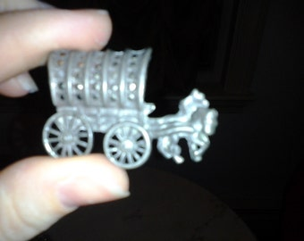 c1800s Sterling and Marcasite Pioneer Horse and Wagon Pin Brooch Pendant
