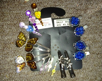 Amazing Lot of Vintage Hair Ornaments-Butterflies, Porcelain Flowers, Daisies, Crystals