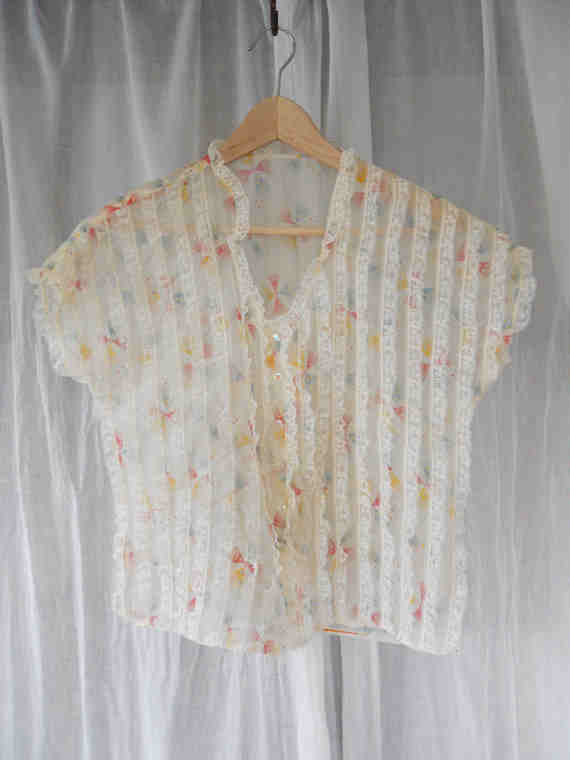 Summer Carnival Sheer Lace Blouse w/Sparkly Aurora Star Buttons and Art Deco Print