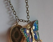 50% OFF CLOSE OUT Sale- Vintage Butterfly Locket Pendant Repurposed One of a Kind Fall Fashion Elegant Classic Natural Stylish Statement Re