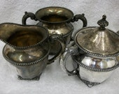 3 piece Van Bergh Silver Plate cream and sugar set  Sale Save 50% OFF with CLEARANCE coupon code at checkout.