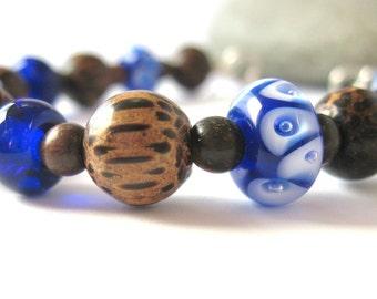 Navy Blue Lampwork Glass  Bracelet, Art Glass Bracelet, Navy Blue Bracelet, Blue Glass Bracelet