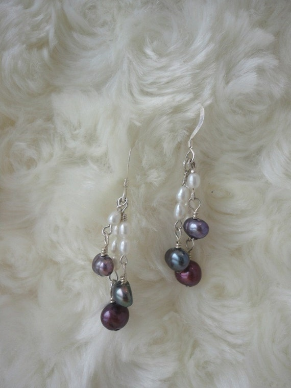 SALE Fun Freshwater Pearl and Sterling Silver Earrings