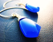 Huge Cobalt Blue, Smooth Chalcedony Briolettes, Wire Wrapped in Gold Fill, Hand Crafted, Bridesmaids Earrings, Matching Necklace Available,