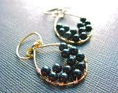 Mixed Metal Jewelry, Sterling Silver & Gold Filled, Black Onyx Wire Wrapped Earrings, Wire Wrap Earrings, Mixed Metal Earrings