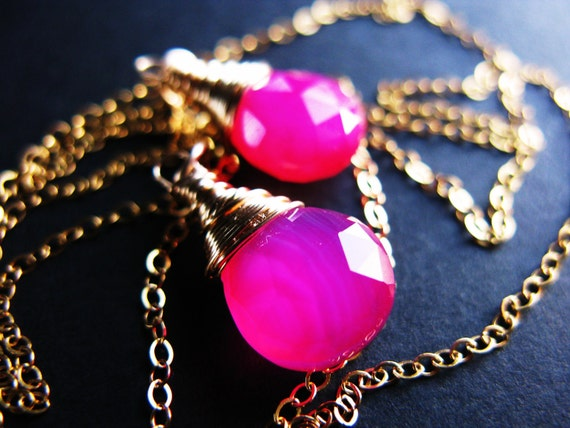 Reserved for Sam - Hot Pink Chalcedony Lariat and Earrings, Wire Wrapped in Gold Fill,