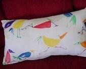 Decorative Lumbar Pillow, Multi-color Crazy Bird Design, Cotton