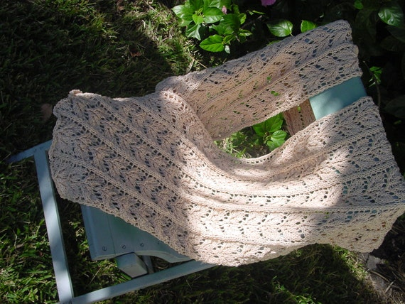 Hand Knitted Cotton Lace Shawl