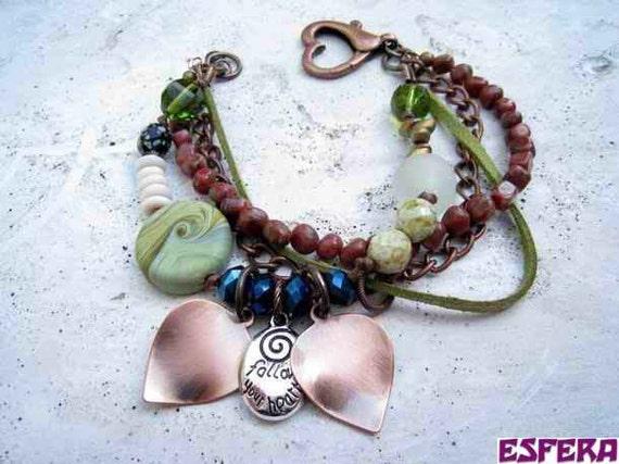 Multi strand, Czech glass, magatama, crystal, jasper, eclectic bracelet, boho bracelet, charm bracelet by Esfera jewelry