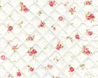 Quilted Floral Cotton By the yard (width 44 inches) 11878 unbleached white