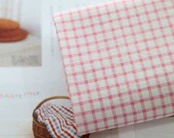 wide sweet check linen cotton blended 1yard (59 x 36 inches) 17703-3  pink