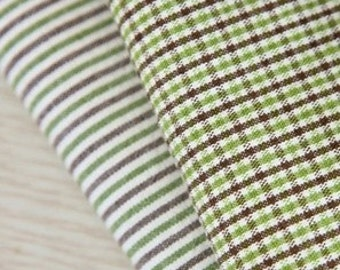 stripe or check cotton by the yard (width 44  inches) 23868 olive green and  brown mixed