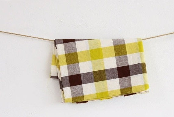 yellow and brown check cotton 1yard (44 x 36 inches) 15320