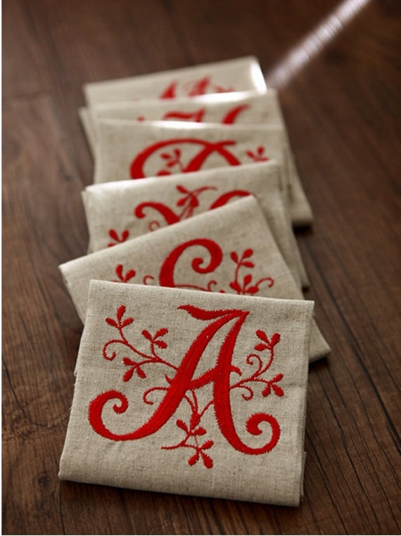 initial embroidered  linen  (14.8 x 14.8 inches) 36388