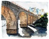 Stone Arch Bridge watercolor giclee print