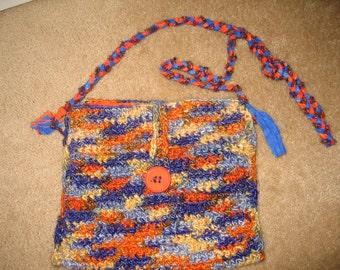 Bright banana-fiber crocheted handbag