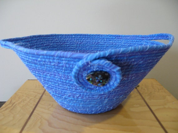 Cornflower blue / purple fabric wrapped-clothesline bowl with handles