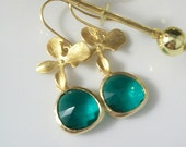 Gold Teal Earrings - Gold Orchid Earrings - Gold Teal Earrings - Gold Earrings - Bridesmaid Earrings