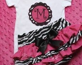 Zebra and Hot Pink Ruffle Bottom Bloomers and Matching Applique Initial Onesie short or long sleeve